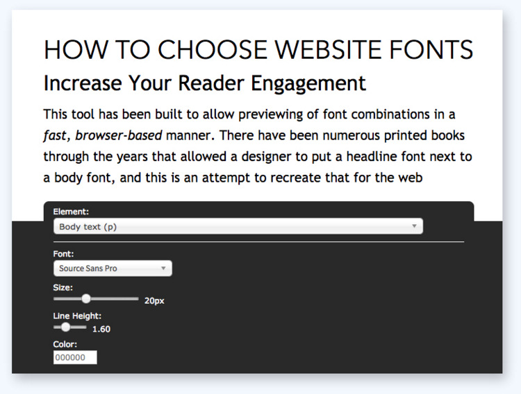 choose website fonts